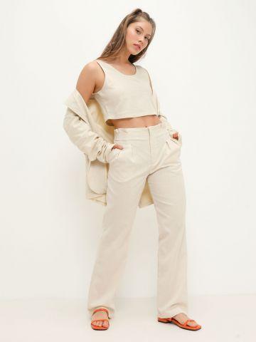 מכנסי פשתן פייפרבאג של NOA KIREL X TERMINAL X