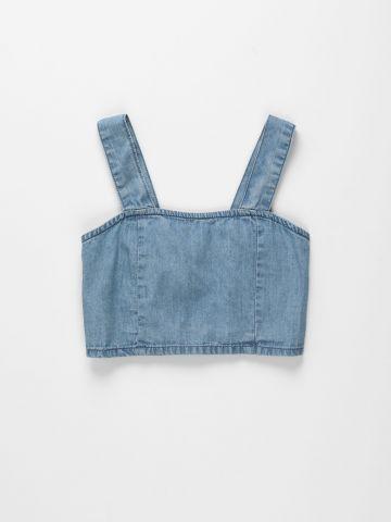 גופיית ג'ינס בגזרת קרופ / בנות של FOX