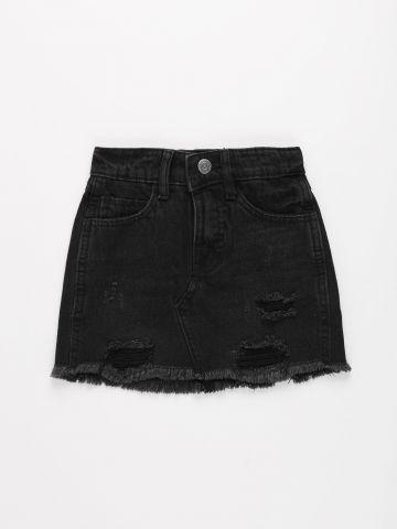 חצאית ג'ינס עם עיטורי קרעים / בנות של FOX