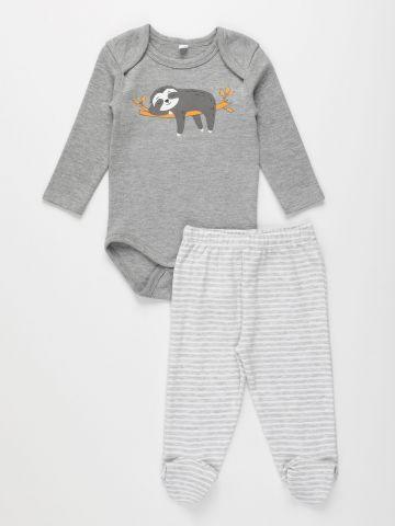 סט בגד גוף עם הדפס עצלן ומכנסיים ארוכים / N.B-18M של FOX
