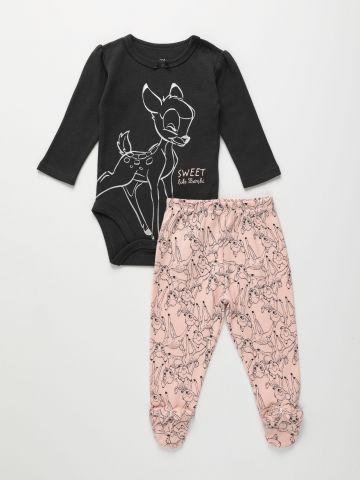 סט בגד גוף ומכנסיים ארוכים בהדפס במבי / N.B-18M של FOX