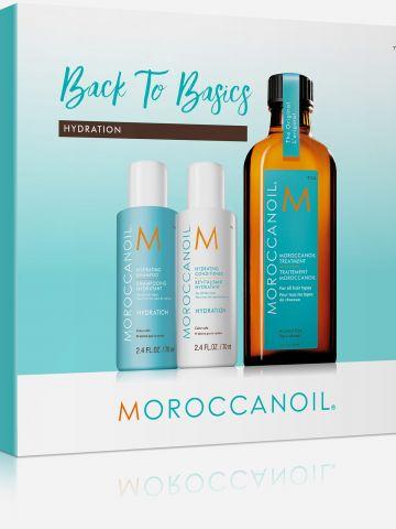 מארז שמן טיפולי, שמפו ומרכך לחות Back to Basic Hydration של MOROCCANOIL