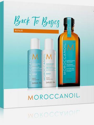מארז שמן טיפולי, שמפו ומרכך שיקום Back to Basic Repair של MOROCCANOIL