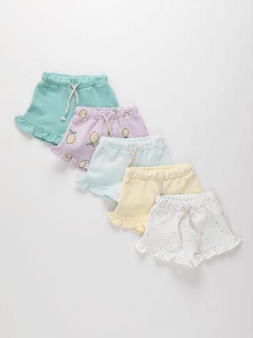 מארז 5 מכנסי ריב קצרים בשילוב מלמלה / 3M-6Y של TERMINAL X KIDS