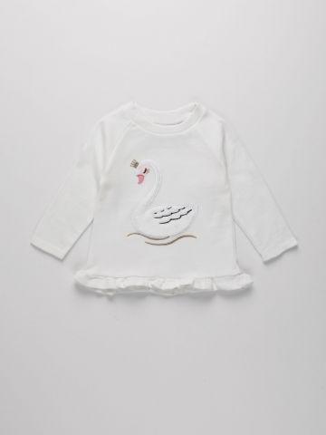 חולצה עם רקמת ברבור / 3M-4Y של THE CHILDREN'S PLACE