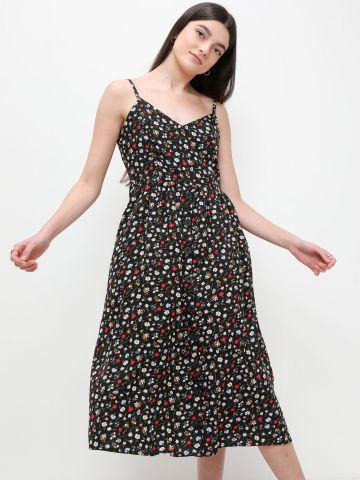 שמלת מידי בהדפס פרחים עם כפתורים של FOX