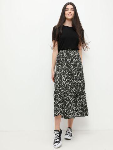 חצאית מידי קומות בהדפס פרחים של FOX