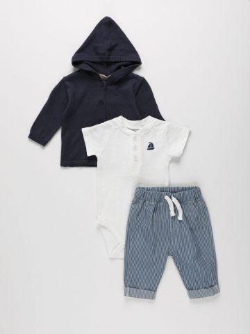 סט בגד גוף, מכנסיים וקרדיגן / 0-12M של FOX
