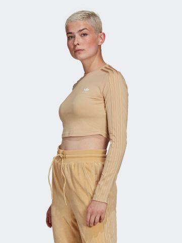 חולצת קרופ עם רקמת לוגו של ADIDAS Originals
