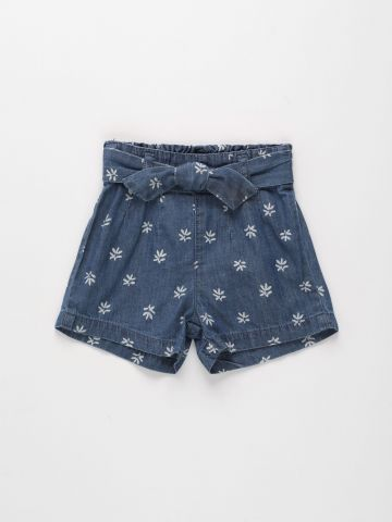 מכנסי ג'ינס קצרים בהדפס פרחים / 3M-3Y של FOX