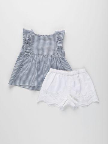 סט חולצה ומכנסיים קצרים בעיטור רקמה / 3M-3Y של FOX