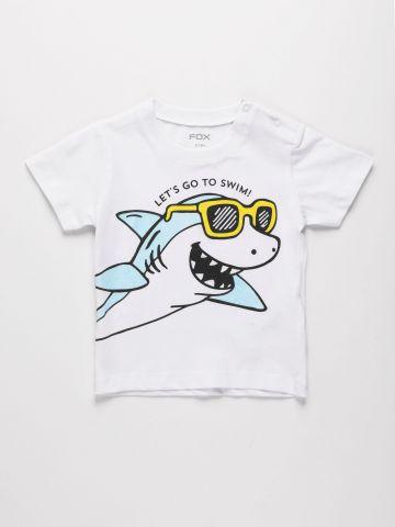 טי שירט עם הדפס כריש / 6M-3Y של FOX