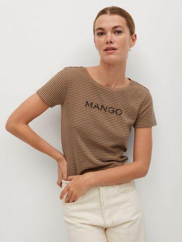 טי שירט בהדפס פסים עם לוגו של MANGO