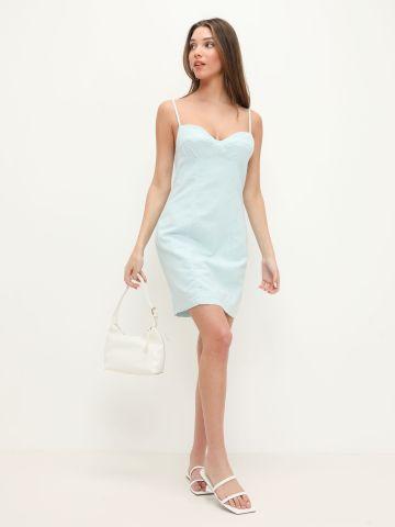 שמלת פשתן עם תיפורים מודגשים של TERMINAL X