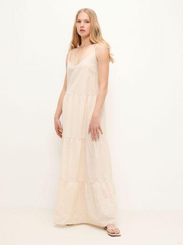 שמלת מקסי פשתן בסגנון קומות של TERMINAL X
