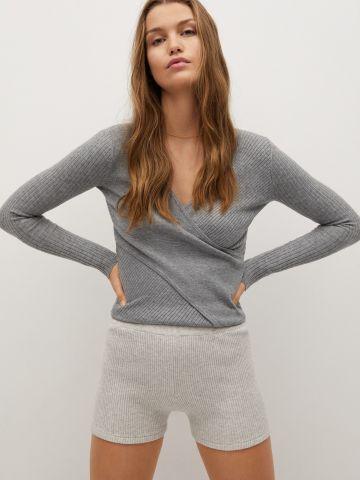 סוודר ריב בסגנון מעטפת של MANGO