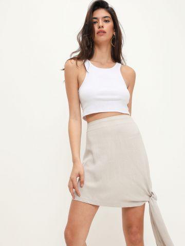 חצאית פשתן עם קשירה של TERMINAL X