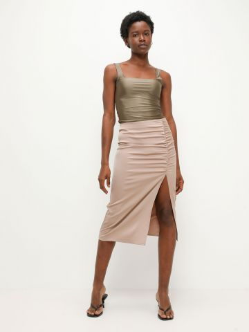 חצאית סאטן עם כיווץ של TERMINAL X