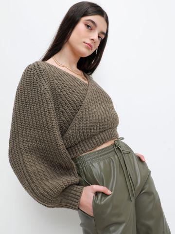 סוודר קרופ בסגנון מעטפת של TERMINAL X
