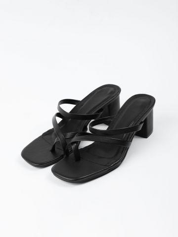 נעלי עקב דמוי עור רצועות דקות של TERMINAL X