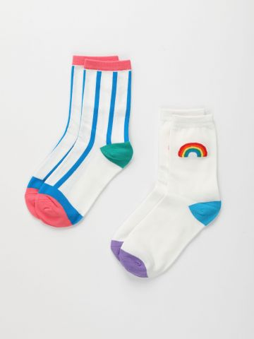 מארז 2 זוגות גרביים בדוגמת קשת / נשים של TERMINAL X