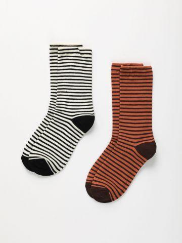 מארז 2 זוגות גרביים בהדפס פסים / נשים של TERMINAL X