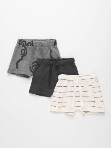 מארז 3 מכנסיים קצרים בהדפסים שונים מבד ג'רסי דק / 0M-2Y של TERMINAL X KIDS