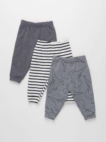 מארז 3 מכנסיים בהדפסים שונים מבד ג'רסי דק / 0M-2Y של TERMINAL X KIDS