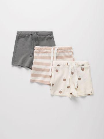 מארז 3 מכנסי בייבי קצרים מבד דק  / 0-2Y של TERMINAL X KIDS