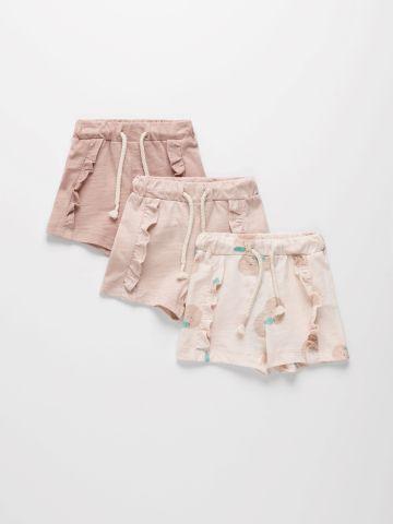 מארז 3 מכנסי מכנסי בייבי קצרים מבד דק עם מלמלה / 0-2Y של TERMINAL X KIDS