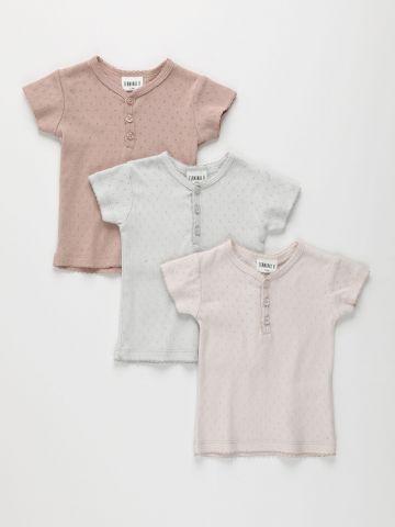 מארז 3 חולצות פוינטל עם חירורים / 3M-6Y של TERMINAL X KIDS