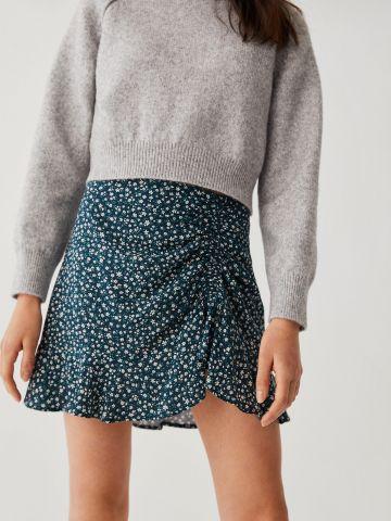 חצאית מיני בהדפס פרחים עם כיווץ / בנות של MANGO