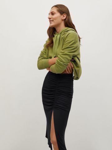 חצאית עיפרון עם כיווץ ושסע של MANGO