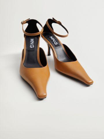 נעלי עקב עור עם קצה ארוך של MANGO
