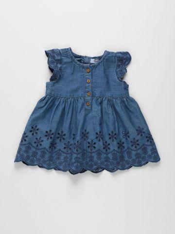שמלה עם כפתורים ורקמת פרחים / 3M-3Y של FOX