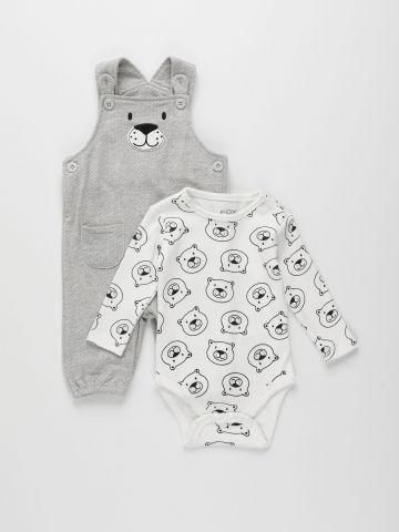 סט בגד גוף ואוברול בהדפס דובים / 0M-2Y של FOX