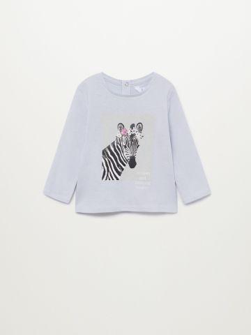חולצת טי שירט עם הדפס זברה / 9M-4Y של MANGO