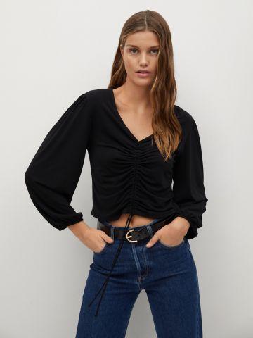 חולצת קרופ בשילוב כיווצים של MANGO