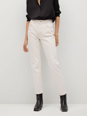 ג'ינס לבן Mom בגזרה גבוהה של MANGO