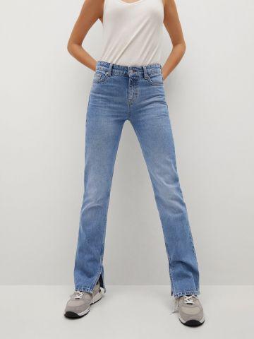 ג'ינס בגזרה ישרה עם שסעים של MANGO