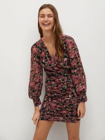 שמלת מיני כיווצים בהדפס פרחים של MANGO