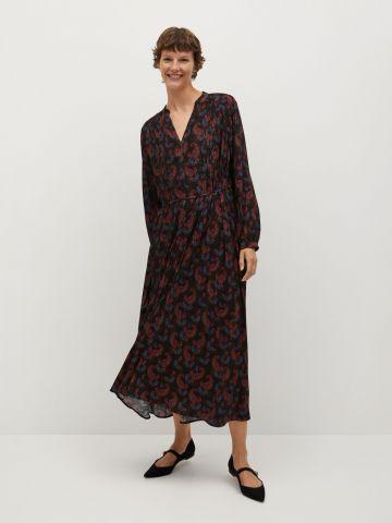 שמלת מידי בהדפס עם חגורת קשירה של MANGO