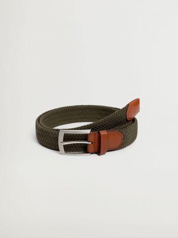 חגורה קלועה בשילוב עור / גברים של MANGO