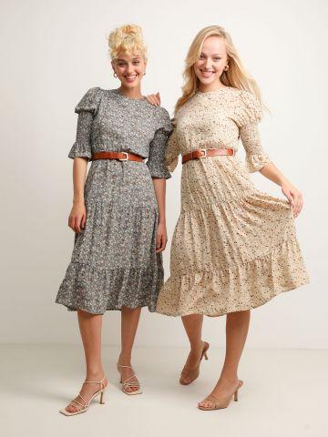 שמלת מידי קומות עם שרוולי כיווצים של YANGA