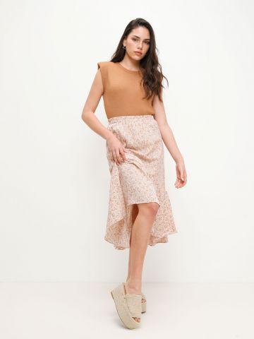 חצאית מידי פפלום בהדפס פרחים של YANGA