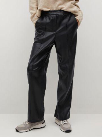 מכנסיים דמוי עור בגזרה ישרה של MANGO