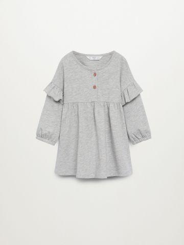שמלה מתרחבת עם כפתורים ושרוולי מלמלה / 9M-4Y של MANGO