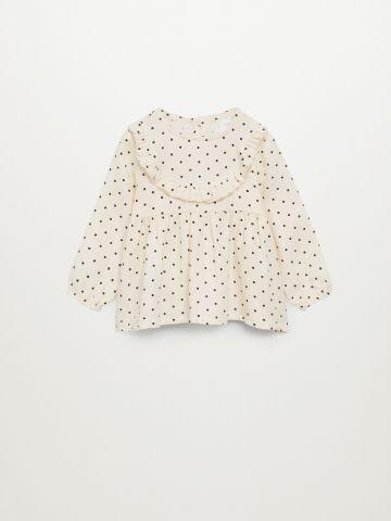 חולצה עם הדפס נקודות בשילוב פפלום / בייבי בנות של MANGO