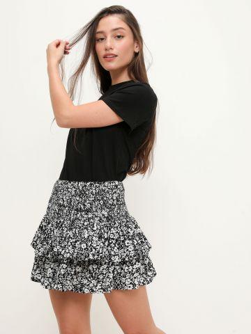 חצאית מיני שכבות בהדפס פרחים של FOX