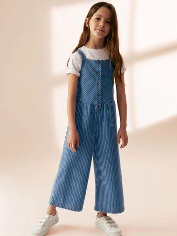 אוברול ג'ינס ארוך בהדפס פסים של MANGO